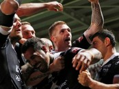 Hull FC celebrate their Challenge Cup semi-final win over Wigan.